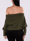 Army Green Knitted Off Shoulder Sweater