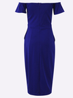 Blue Bow Tie Front Strapless Zip Back Design Midi Dress