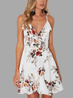 White Random Floral Print Flouncy Details Lace-up Back Dress