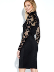 Black Lace Long Sleeves High Neck Bodycon Dress