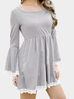 Flared Sleeves Dress with Lace Details