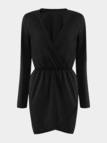 Black Plunge V-Neck Wrap Front Mini Dress