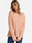 Pink Adjustable Neck Plain Round Neck Long Sleeves T-shirts