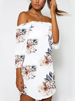 Beige Off Shoulder Random Floral Print Dress