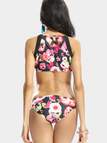 Sexy Floral Print Bikini Set with Zip Back Front