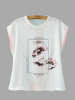 White Floral and Letter Print Round Neck Basic T-shirt
