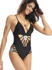 Black Sexy Cut Out Straps Swimsuit