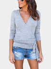 Grey Crossed Front Design Tied In The Waist T-shirt