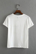 White Letter Print Short Sleeve T-shirt with Turnover