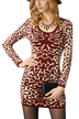 Burgundy Leopard Print Mini Dress in Knit