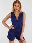Royal Blue Side Pockets V-neck Sleeveless Drawstring Waist Playsuit