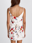 White Sexy Random Floral Print Cami Dress with Middle Waist