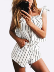 Fashion Stripe Shirt With Tie-up Shoulder Strap Co-ords