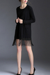 Black Longline Knitted Cardigan With Tassel Hem