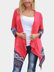 Waterfall Longline Jersey Cardigan With Geo-Tribal Detail