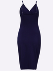 Navy Bodycon V-neck Cross Front Wrap Mini Dress