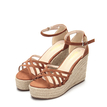 Brown Cross Over Braid Wedge Sandals