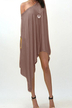 One Shoulder Mini Dress in Khaki