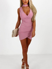 Rose Pink Wrap Choker Irregular Hem Mini Dress