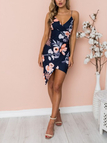 Navy Floral Print V-neck Asymmetric Wrap Mini Dress