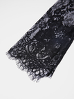 Black Sexy Lace Detail Self-tie Waisted Pajamas with T-back