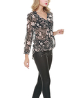 Floral Print V-neck Long Sleeves Chiffon Top