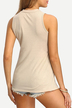 Apricot  Crew Neck Splited Sleeveless Top