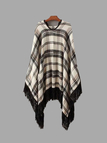 Loose Plaid Pattern Cape with Tassel Details