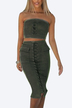 Army Green Suede Lace-up Tube Top & Midi Splited Hem Skirt Co-ord
