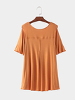 V-neck Cold Shoulder High Low Hem T-shirt in Tan