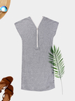 Grey Zip Design V-neck Short Sleeves Dress
