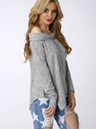 Grey Off Shoulder Irregular Hem T-shirt