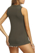 Armygreen Crew Neck Splited Sleeveless Top