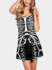 Black Pleated Skeleton Print Halloween Mini Dress