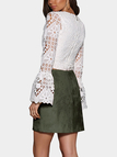 Army Green Suede Lace-up Design Mini Skirt with Back Zipper