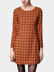 Plus Size Patterned Long Sleeve Dress In Orange