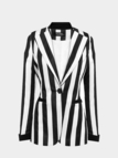Striped Slim Blazer with Roll Cuffs