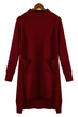 Burgundy Long Sleeve Sweater Dress with Pocket