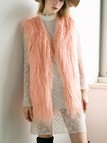 Peach Pink Fashion Sleeveless Artificial Fur Coat