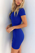 Royal Blue Lace-up Front Bodycon Mini Dress