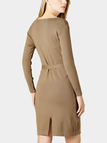 Tan Bodycon Knitted Mini Dress with Tie Waist