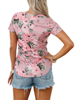 Purple V-neck Short Sleeves Floral Print Curved Hem Tee