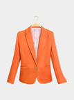 Orange Fashion Long Sleeves Collar One Botton Front Blazer