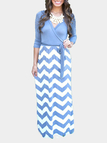 Light Blue Chevron Pattern Maxi Dress