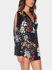 Black Playsuit In Floral Print