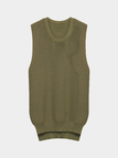 Khaki Side Split Knitted Vest with High-low Hem