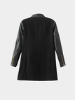 Black Leather Splicing Long Sleeves Trench Coat