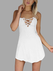 Criss-Cross Hollow Front & Backless Mini Dress in White