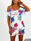 Random Floral Print Cold Shoulder Dress with Flouncy Details