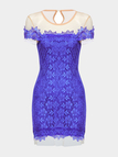 Blue Open Back Mini Dress with Lace Details
